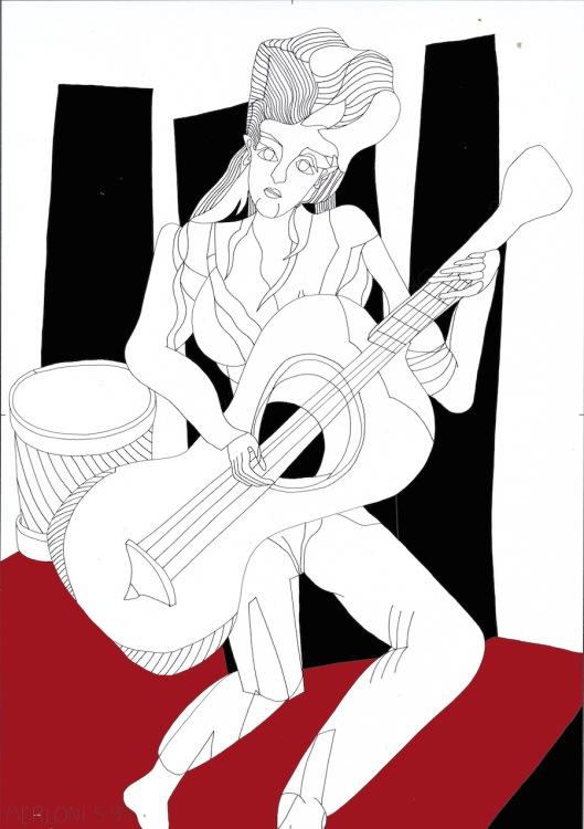 002_guitare002 Noir et rouge 180